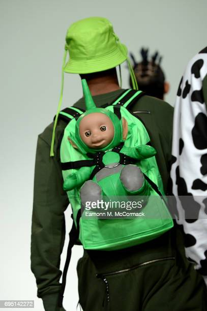 A model bag detail walks the runway at the Bobby Abley show during the London Fashion Week Men's June 2017 collections on June 12 2017 in London...