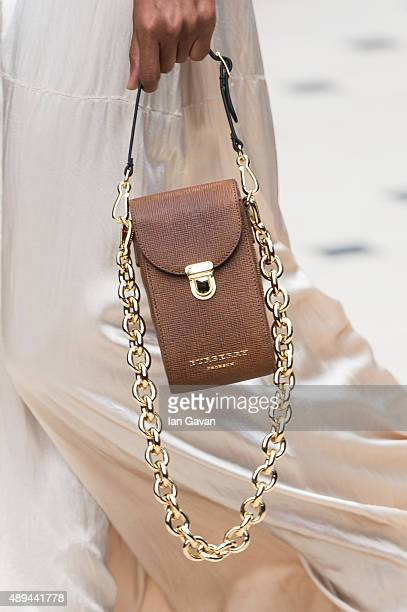 A model bag detail walks the runway at the Burberry Prorsum show during London Fashion Week Spring/Summer 2016/17 on September 21 2015 in London...