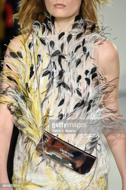 A model bag detail walks the runway at the Calvin Klein Collection Autumn Winter 2017 fashion show during New York Fashion Week on February 10 2017...
