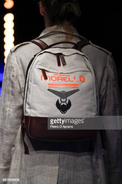 A model bag detail walks the runway at the Frankie Morello show during Milan Men's Fashion Week Spring/Summer 2018 on June 19 2017 in Milan Italy