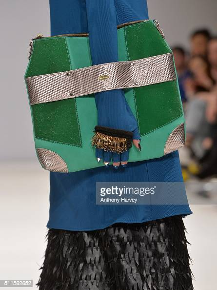 A model bag detail walks the runway at the House of Mea show at Fashion Scout during London Fashion Week Autumn/Winter 2016/17 at Freemasons' Hall on...