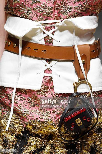 A model bag detail walks the runway at the Prada show during Milan Fashion Week Fall/Winter 2016/17 on February 25 2016 in Milan Italy
