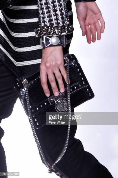 A model bag detail walks the runway during the Balmain Menswear Spring/Summer 2018 show as part of Paris Fashion Week on June 24 2017 in Paris France