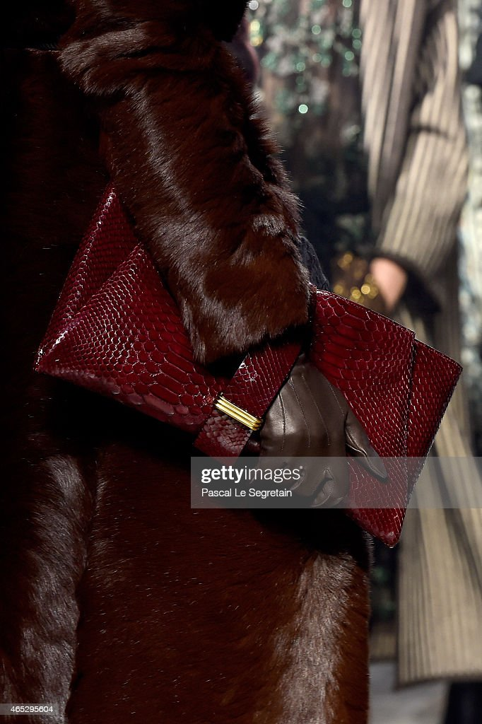 A model bag detail walks the runway during the Lanvin show as part of the Paris Fashion Week Womenswear Fall/Winter 2015/2016 on March 5 2015 in...