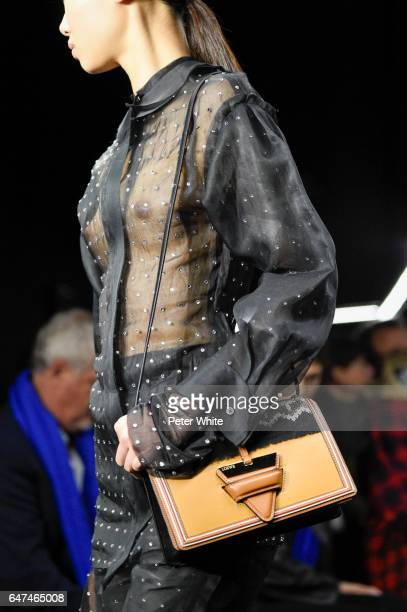 A model bag detail walks the runway during the Loewe show as part of the Paris Fashion Week Womenswear Fall/Winter 2017/2018 on March 3 2017 in Paris...