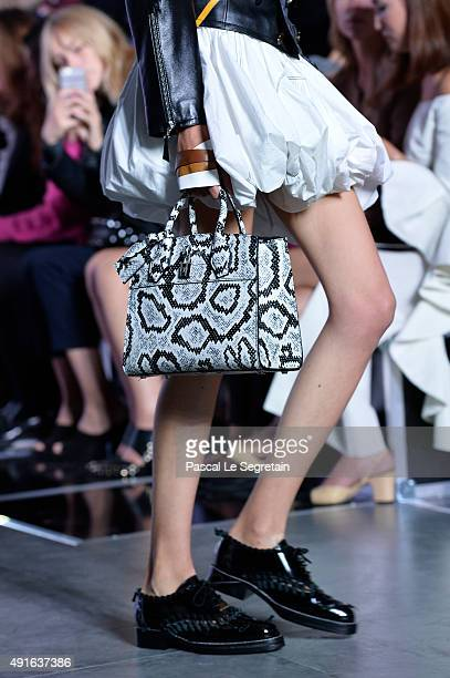A model bag detail walks the runway during the Louis Vuitton show as part of the Paris Fashion Week Womenswear Spring/Summer 2016 on October 7 2015...