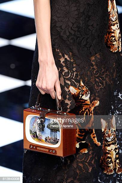 A model bag details walks the runway at the Dolce Gabbana show during Milan Fashion Week Fall/Winter 2016/17 on February 28 2016 in Milan Italy