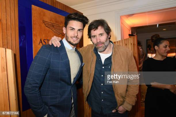 Model Baptiste Giabiconi and actor/director Jalil Lespert attend 'Aston Martin by Hackett' Capsule Collection Launch at Hackett Store Capucines on...