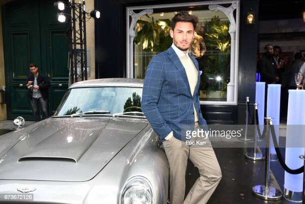 Model Baptiste Giabiconi attends 'Aston Martin by Hackett' Capsule Collection Launch at Hackett Store Capucines on April 26 2017 in Paris France