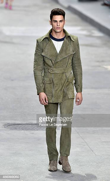Model Baptiste Giabiconi walks the runway during the Chanel show as part of the Paris Fashion Week Womenswear Spring/Summer 2015 on September 30 2014...