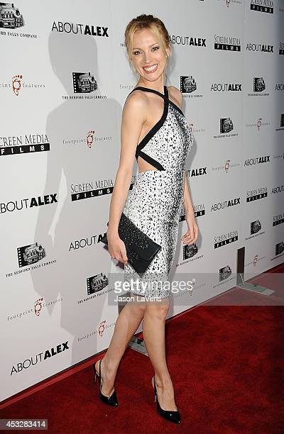 Model Bar Paly attends the premiere of 'About Alex' at ArcLight Hollywood on August 6 2014 in Hollywood California