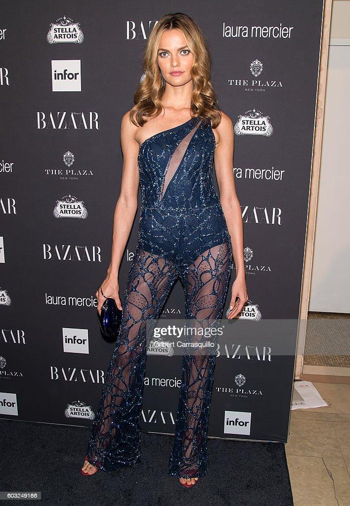 Model Barbara Fialho attends Harper's BAZAAR Celebrates 'ICONS By Carine Roitfeld' at The Plaza Hotel on September 9, 2016 in New York City.