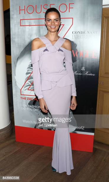 Model Barbara Fialho attends the premiere of 'House of Z' hosted by Brooks Brothers with The Cinema Society at Crosby Street Hotel on September 7...