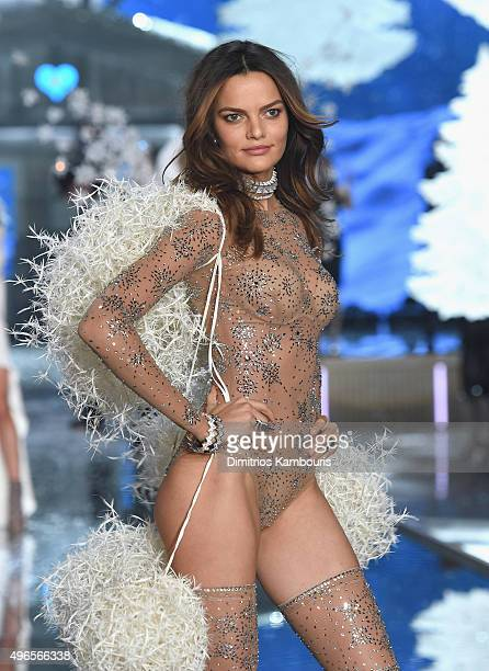 Model Barbara Fialho from Brazil walks the runway during the 2015 Victoria's Secret Fashion Show at Lexington Avenue Armory on November 10 2015 in...