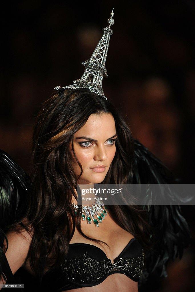 Model Barbara Fialho walks the runway at the 2013 Victoria's Secret Fashion Show at Lexington Avenue Armory on November 13, 2013 in New York City.