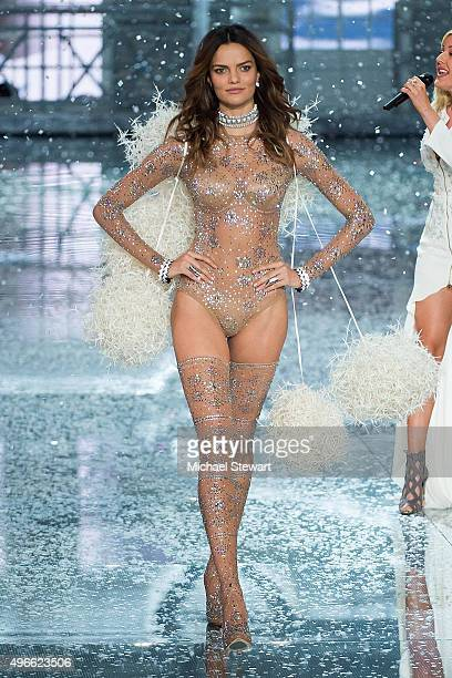 Model Barbara Fialho walks the runway during the 2015 Victoria's Secret Fashion Show at the Lexington Armory on November 10 2015 in New York City