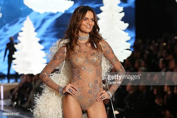 Model Barbara Fialho walks the runway during the 2015 Victoria's Secret Fashion Show at Lexington Avenue Armory on November 10 2015 in New York City