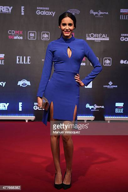 Model Barbara Islas poses during a red carpet prior the presentation of the 9th edition of 'Elle Mexico Designs 2015' at Bosque de Chapultepec on...