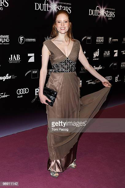 Model Barbara Meier in a dress by Barbara Schwarzer attends the 'Duftstars 2010' at the Station on May 7 2010 in Berlin Germany