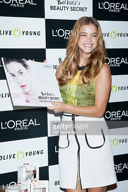 Model Barbara Palvin attends during the autograph session for LOREAL at the Olive Young store on August 27 2013 in Seoul South Korea