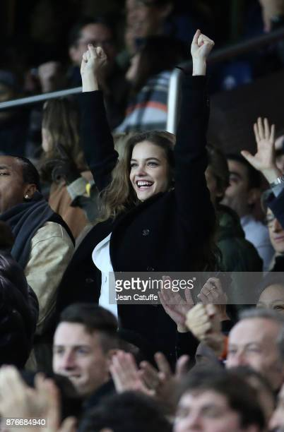 Model Barbara Palvin attends the French Ligue 1 match between Paris Saint Germain and FC Nantes at Parc des Princes stadium on November 18 2017 in...