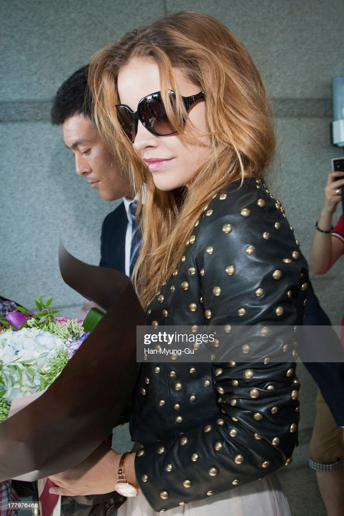 Model <a gi-track='captionPersonalityLinkClicked' href=/galleries/search?phrase=Barbara+Palvin&family=editorial&specificpeople=7190694 ng-click='$event.stopPropagation()'>Barbara Palvin</a> is seen upon arrival at the Incheon International Airport on August 26, 2013 in Incheon, South Korea.