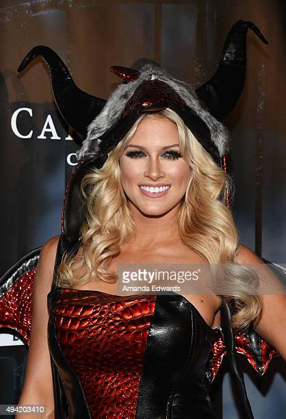 Model Barbie Blank arrives at MAXIM Magazine's Official Halloween Party at a private estate on October 24 2015 in Beverly Hills California