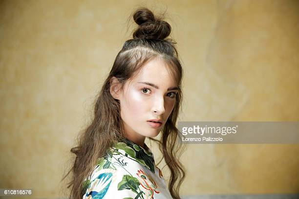 A model beauty backstage detail is seen backstage ahead of the Stella Jean show during Milan Fashion Week Spring/Summer 2017 on September 25 2016 in...