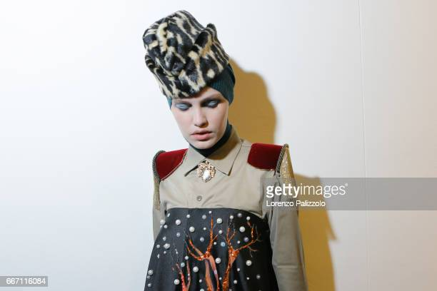 A model beauty backstage detail is seen backstage ahead of the Stella Jean show during Milan Fashion Week Fall/Winter 2017/18 on February 26 2017 in...
