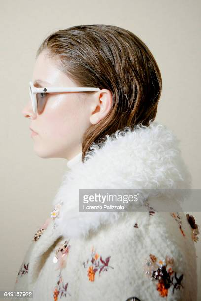A model beauty backstage detail is seen backstage before the Moncler Gamme Rouge show as part of the Paris Fashion Week Womenswear Fall/Winter...