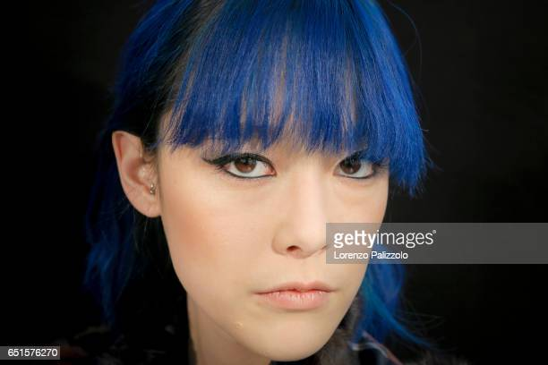 A model beauty backstage detail is seen backstage before the Shiatzy Chen show as part of the Paris Fashion Week Womenswear Fall/Winter 2017/2018 on...