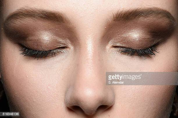 A model beauty detail is seen backstage ahead of the Derya Acikgoz show during the MercedesBenz Fashion Week Istanbul Autumn/Winter 2016 at Zorlu...