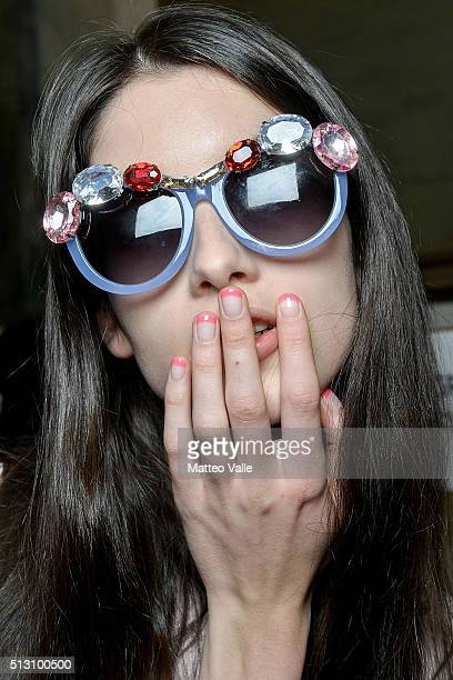 A model beauty detail is seen backstage ahead of the Vivetta show during Milan Fashion Week Fall/Winter 2016/17 on February 29 2016 in Milan Italy
