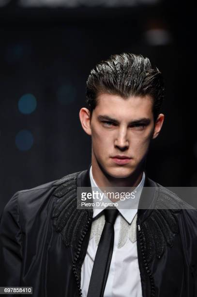 A model beauty detail walks the runway at the Frankie Morello show during Milan Men's Fashion Week Spring/Summer 2018 on June 19 2017 in Milan Italy