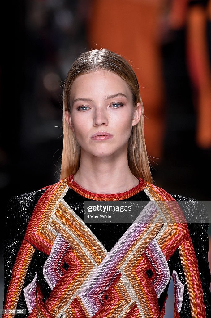 A model, beauty details, walks the runway during the Balmain Menswear Spring/Summer 2017 show as part of Paris Fashion Week on June 25, 2016 in Paris, France.