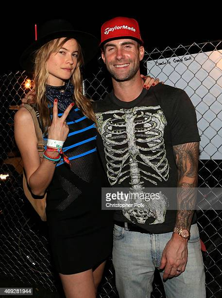 Model Behati Prinsloo and musician Adam Levine attend day 1 of the 2015 Coachella Valley Music Arts Festival at the Empire Polo Club on April 10 2015...