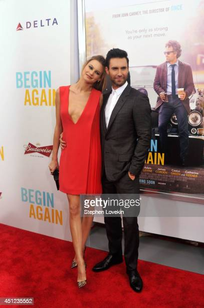 Model Behati Prinsloo and musician Adam Levine attend the New York premiere of the Weinstein company's BEGIN AGAIN sponsored by Delta Airlines and...