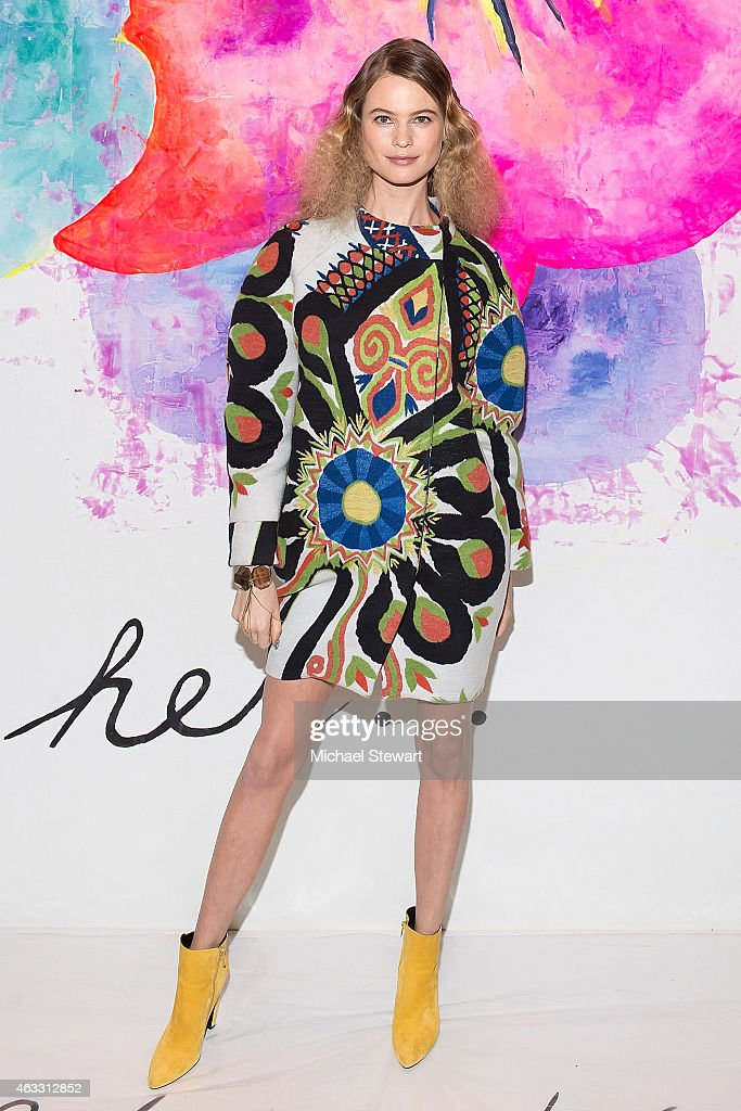 Model Behati Prinsloo attends Desigual show during MercedesBenz Fashion Week Fall 2015 at The Theatre at Lincoln Center on February 12 2015 in New...