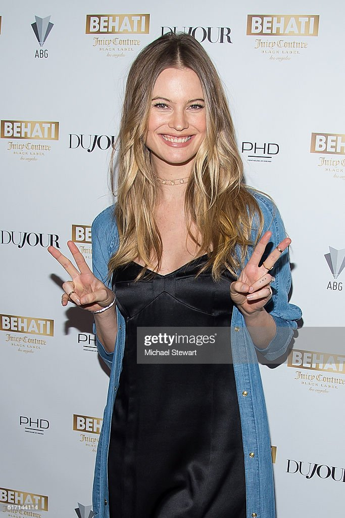 Model Behati Prinsloo attends supermodel Behati Prinsloo celebrates the launch of Behati Juicy Couture Black Label at Dream Downtown on March 23 2016...