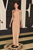 Model Behati Prinsloo attends the 2015 Vanity Fair Oscar Party hosted by Graydon Carter at Wallis Annenberg Center for the Performing Arts on...