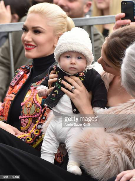 Model Behati Prinsloo daughter Dusty Rose Levine and singer Gwen Stefani attend the ceremony honoring Adam Levine with star on the Hollywood Walk of...