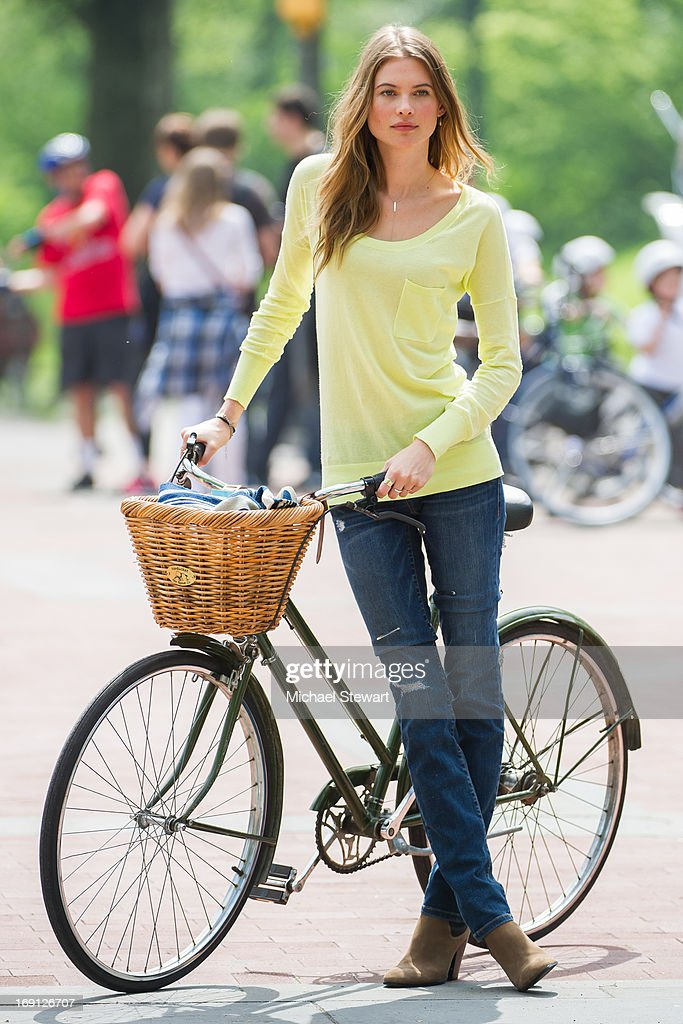 Model Behati Prinsloo poses during a photo shoot for Victoria's Secret in Central Park on May 20, 2013 in New York City.