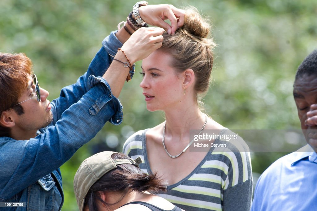 Model <a gi-track='captionPersonalityLinkClicked' href=/galleries/search?phrase=Behati+Prinsloo&family=editorial&specificpeople=4319064 ng-click='$event.stopPropagation()'>Behati Prinsloo</a> poses during a photo shoot for Victoria's Secret in Central Park on May 20, 2013 in New York City.