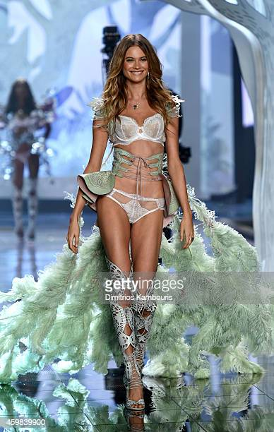 Model Behati Prinsloo walks the runway during the 2014 Victoria's Secret Fashion Show at Earl's Court Exhibition Centre on December 2 2014 in London...