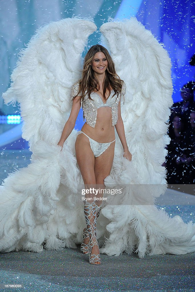 Model Behati Prinsloo walks the runway wearing Bolero using Swarovski Crystals at the 2013 Victoria's Secret Fashion Show at Lexington Avenue Armory on November 13, 2013 in New York City.