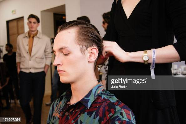 A model being prepared backstage for the Francesco Smalto Menswear Spring/Summer 2014 Show As Part Of The Paris Fashion Week on June 29 2013 in Paris...