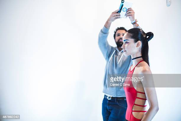A model being scanned by a 3D scanner at Milk Studios on September 11 2015 in New York City