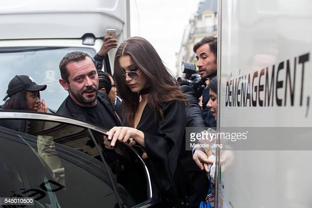 Model Bella Hadid after the Dior show at 30 Avenue Montaigne on July 4 2016 in Paris France