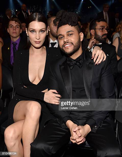 Model Bella Hadid and recording artist The Weeknd attend The 58th GRAMMY Awards at Staples Center on February 15 2016 in Los Angeles California