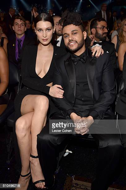 Model Bella Hadid and singer The Weeknd attend The 58th GRAMMY Awards at Staples Center on February 15 2016 in Los Angeles California